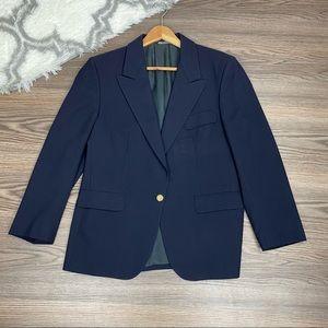 Vintage Burberry Navy Wool Blazer Size 10